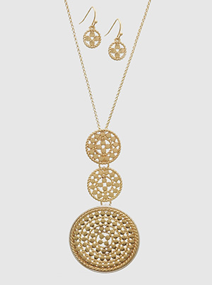 Triple Medallion Necklace with earrings