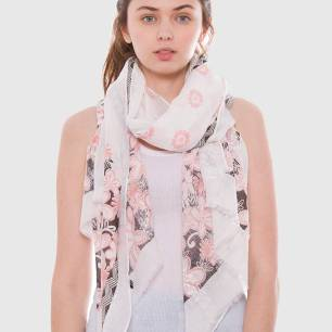 aa floral-flower-print-lightweight-oblong-scarf-coral-black-